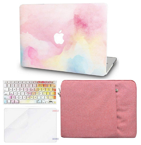 Macbook Case with US/CA Keyboard Cover, Screen Protector and Sleeve Package | Painting Collection - Rainbow Mist - Case Kool
