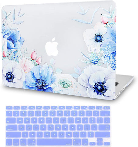 Macbook Case with Keyboard Cover Package | Color Collection -Blue and White Poppy with Keyboard Cover