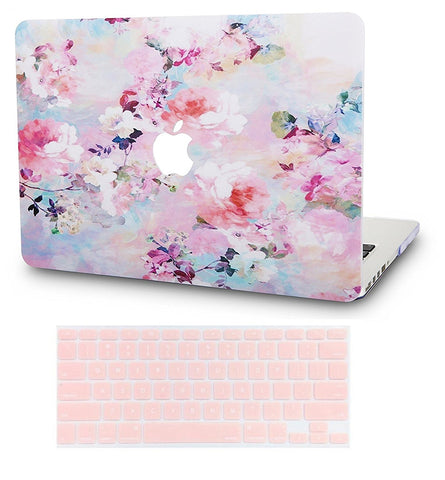 Macbook Case with US/CA Keyboard Cover' Package | Floral Collection - Flower 7 - Case Kool