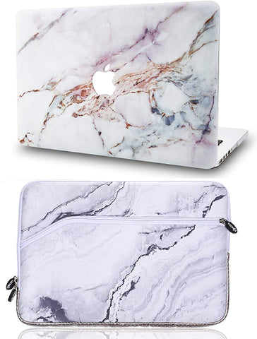 Macbook Case with Sleeve Package | Marble Collection - White Marble 4 - Case Kool