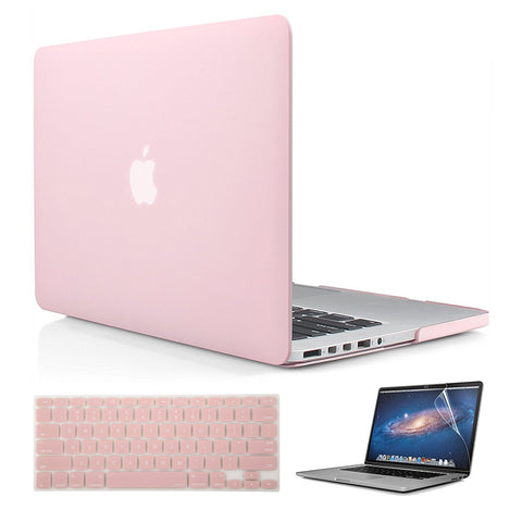 Macbook Case with US Keyboard Cover and Screen Protector Package | Color Collection - Pale Pink - Case Kool
