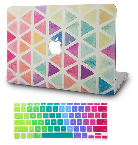 Macbook Case with US Keyboard Cover Package | Color Collection - Color Triangles - Case Kool