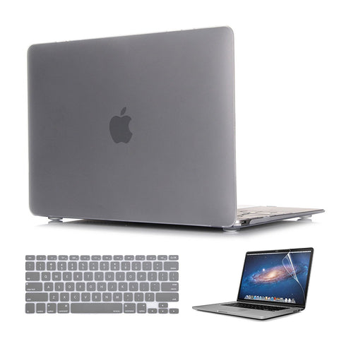 Macbook Case with US Keyboard Cover and Screen Protector Package | Color Collection - Matte Grey - Case Kool