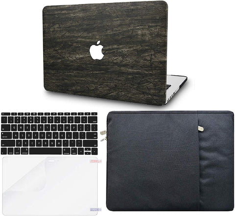 Macbook Case with Keyboard Cover, Screen Protector and Sleeve Package | Leather Collection - Brown Wood Leather