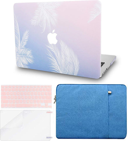 Macbook Case with Keyboard Cover, Screen Protector and Sleeve Package | Painting Collection - Blue Feather - Case Kool