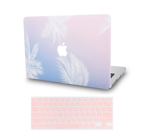 Macbook Case with US/CA Keyboard Cover' Package | Color Collection - Blue Feather - Case Kool