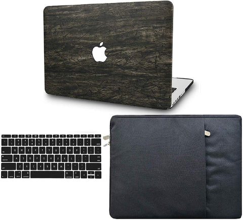 Macbook Case with Keyboard Cover and Sleeve Package | Leather Collection -  Brown Wood Leather