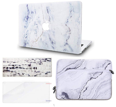 Macbook Case with Keyboard Cover, Screen Protector and Sleeve Package | Marble Collection - White Marble 3 - Case Kool