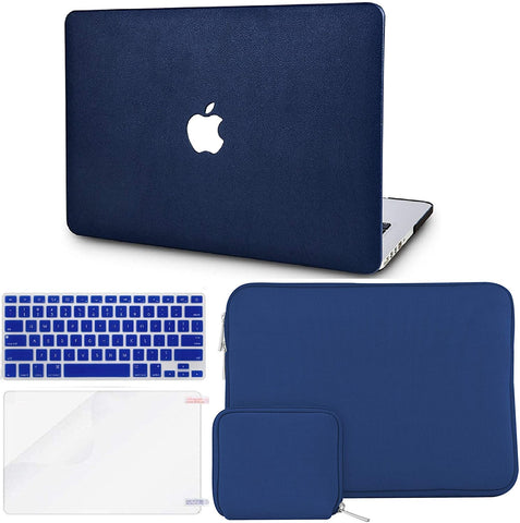 Macbook Case with Keyboard Cover + Slim Sleeve + Screen Protector + Pouch |Dark Blue Leather
