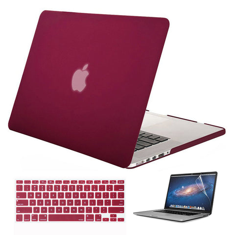 Macbook Case with Keyboard Cover and Screen Protector Package | Color Collection - Wine Red - Case Kool
