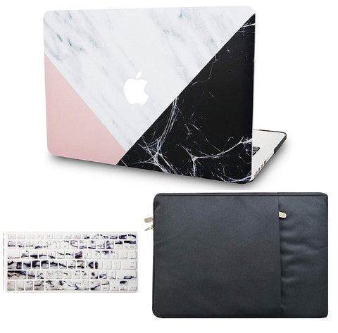 Macbook Case with Keyboard Cover and Sleeve Package | Marble Collection - White Marble Pink Black - Case Kool