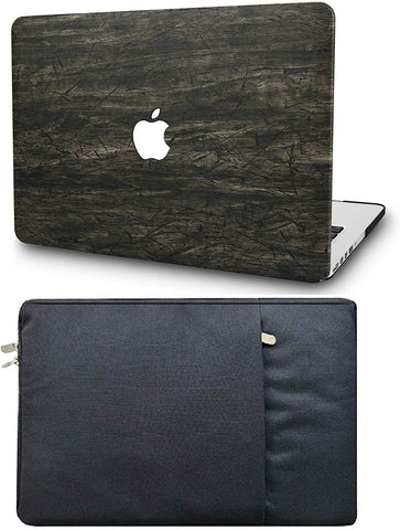 Macbook Case with Sleeve Package | Leather Collection - Brown Wood Leather - Case Kool