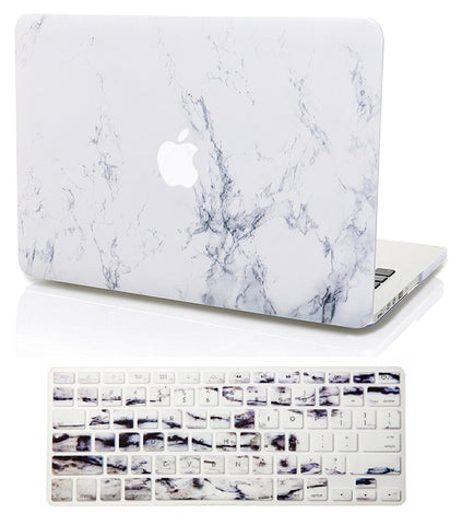 Macbook Case with US/CA Keyboard Cover' Package | Marble Collection - White Marble - Case Kool