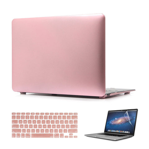 Macbook Case with Keyboard Cover and Screen Protector Package | Color Collection - Rose Gold - Case Kool