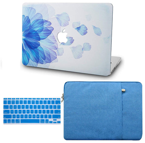 Macbook Case with Keyboard Cover and Sleeve Package | Floral Collection - Blue Flower - Case Kool