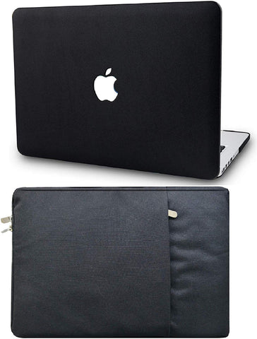 Macbook Case with Sleeve Package | Leather Collection - Black Leather - Case Kool