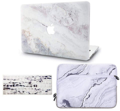 Macbook Case with US/CA Keyboard Cover and Sleeve Package | Marble Collection - White Marble 2 - Case Kool
