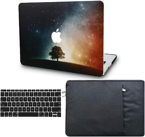 Macbook Case with Keyboard Cover and Sleeve Package | Galaxy Space Collection - Lonely Tree - Case Kool
