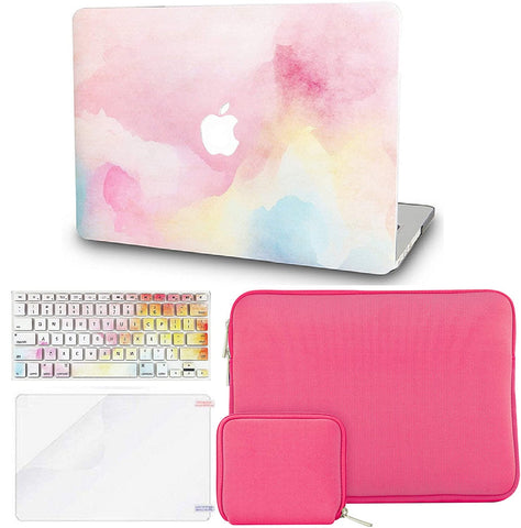 Macbook Case with Keyboard Cover + Slim Sleeve + Screen Protector + Pouch |Rainbow Mist