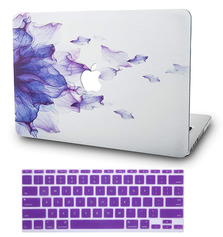 Macbook Case with US Keyboard Cover Package | Floral Collection - Purple Flower - Case Kool