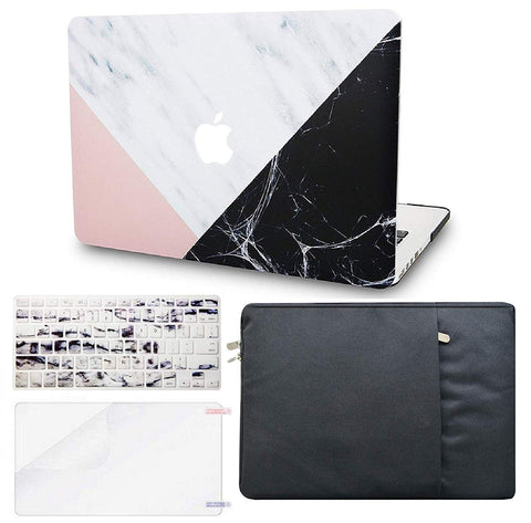 Macbook Case with Keyboard Cover, Screen Protector and Sleeve Package | Marble Collection - White Marble Pink Black - Case Kool