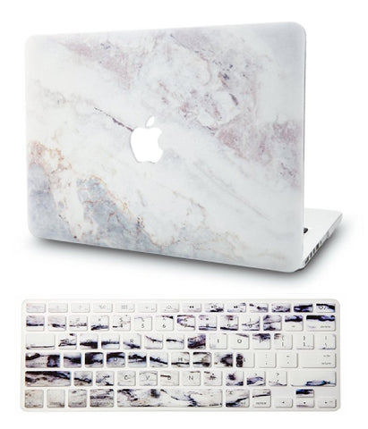 Macbook Case with US/CA Keyboard Cover' Package | Marble Collection - White Marble 2 - Case Kool