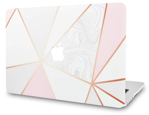 Macbook Case | Marble Collection - White Marble with Pink Grey 2 - Case Kool