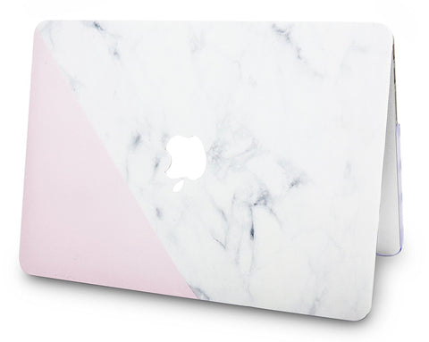 sports shoes 8abd2 454cb Macbook Case   Marble Collection - White Marble with Pink