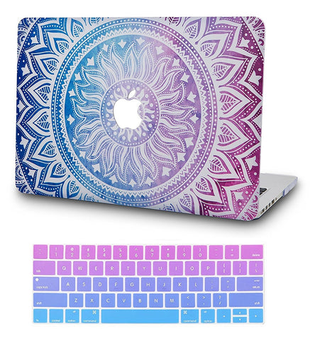Macbook Case with US Keyboard Cover Package | Color Collection - Purple Medallion - Case Kool