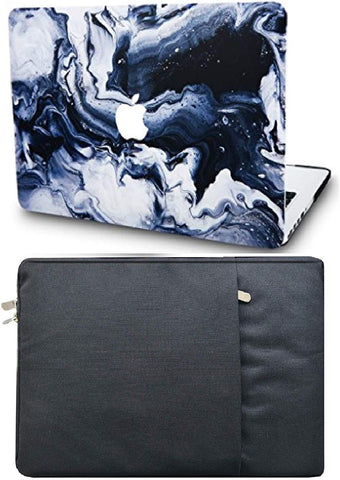 Macbook Case with Sleeve Package | Marble Collection - Black Grey Marble