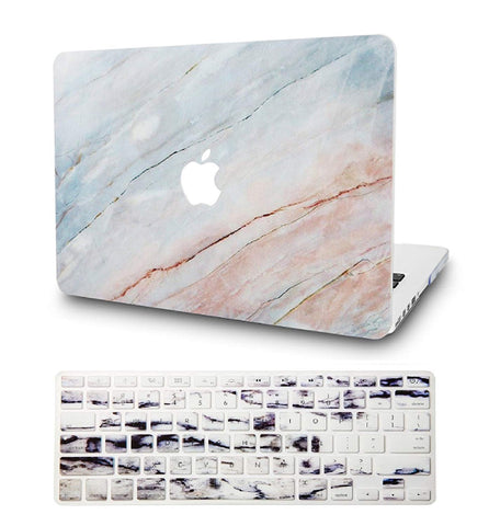Macbook Case with US/CA Keyboard Cover' Package | Marble Collection - Granite Marble - Case Kool
