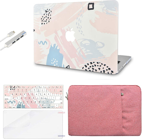 Macbook Case with Keyboard Cover, Screen Protector and Sleeve Sleeve Bag and USB |Watercolor Paint 2
