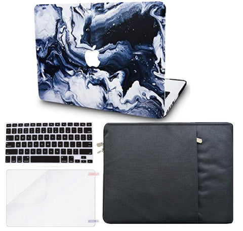 Macbook Case with US/CA Keyboard Cover, Screen Protector and Sleeve Package | Marble Collection - Black Grey Marble - Case Kool