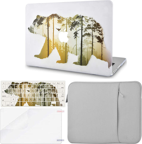 Macbook Case with Keyboard Cover, Screen Protector and Sleeve Package | Color Collection -  Bear