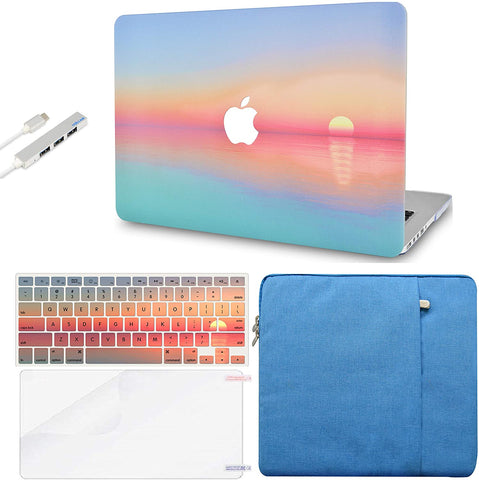 Macbook Case with Keyboard Cover, Screen Protector and Sleeve Sleeve Bag and USB |Sunset