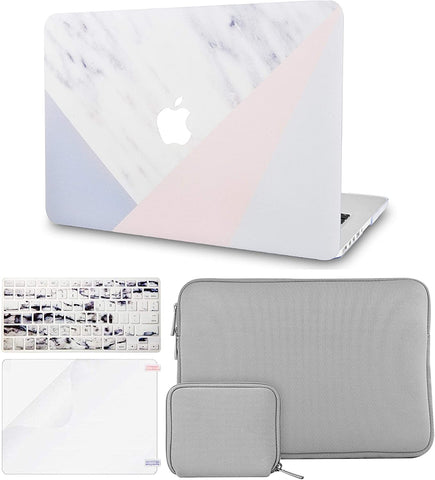 Macbook Case with Keyboard Cover + Slim Sleeve + Screen Protector + Pouch |White Marble with Pink Grey