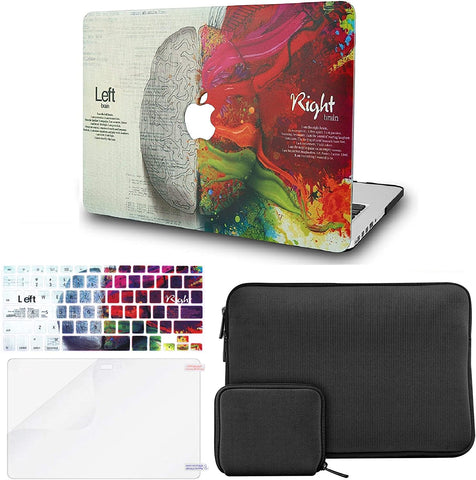 Macbook Case with Keyboard Cover + Slim Sleeve + Screen Protector + Pouch |Brain