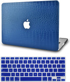 Macbook Case with Keyboard Cover Package | Matte Blue Crocodile Leather