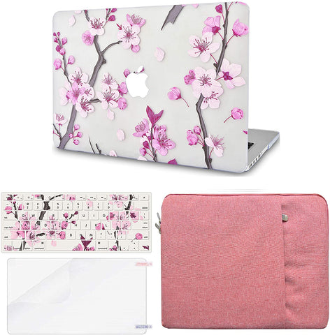 Macbook Case with Keyboard Cover, Screen Protector and Sleeve Package | Color Collection -  Flower 10