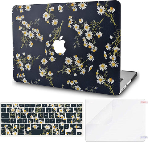 Macbook Case with Keyboard Cover and Screen Protector Package | Floral Collection -White Daisies