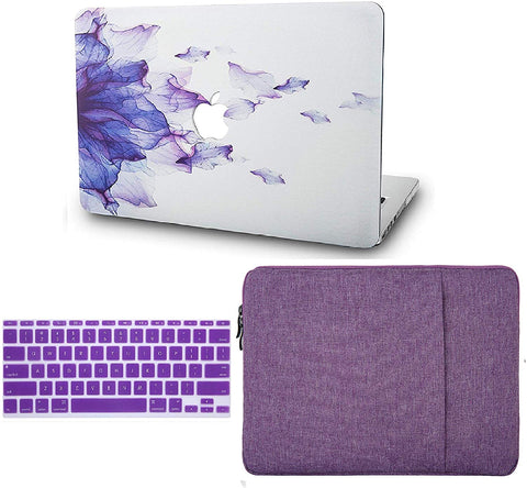 Macbook Case with Keyboard Cover and Sleeve Package | Floral Collection - Purple Flower - Case Kool