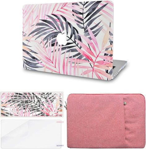 Macbook Case with Keyboard Cover, Screen Protector and Sleeve Package | Leaf - Pink Grey