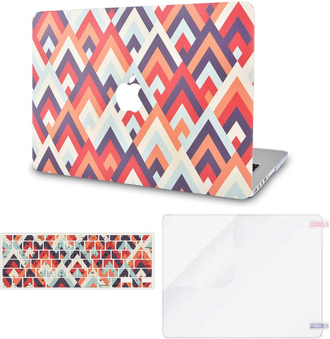 Macbook Case with Keyboard Cover and Screen Protector Package | Colorful Triangles 2