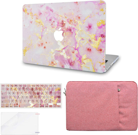 Macbook Case with Keyboard Cover, Screen Protector and Sleeve Package | Color Collection - Pink Marble Gold Mist
