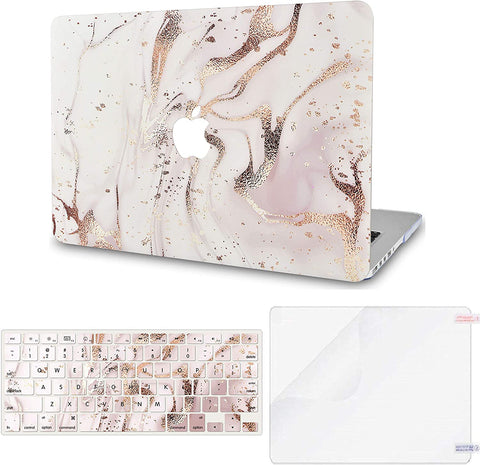 Macbook Case with Keyboard Cover and Screen Protector Package | Gold Branches