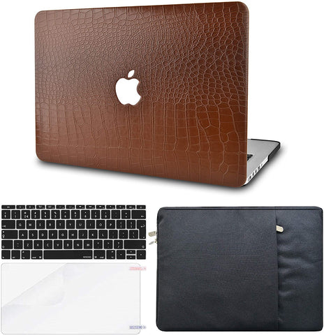 Macbook Case with Keyboard Cover, Screen Protector and Sleeve Package | Leather Collection-Matte Brown Crocodile Leather