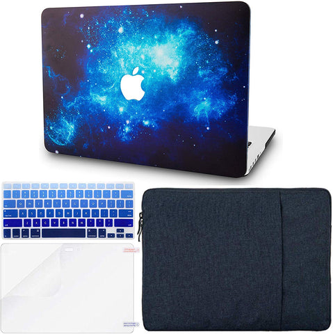 Macbook Case with Keyboard Cover, Screen Protector and Sleeve Package | Galaxy Space Collection - Blue 2 - Case Kool