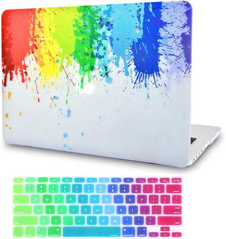 Macbook Case with Keyboard Cover Package | Rainbow Splat with Keyboard Cover