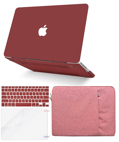 Macbook Case with Keyboard Cover, Screen Protector and Sleeve Package | Color Collection - Matte Wine Red - Case Kool