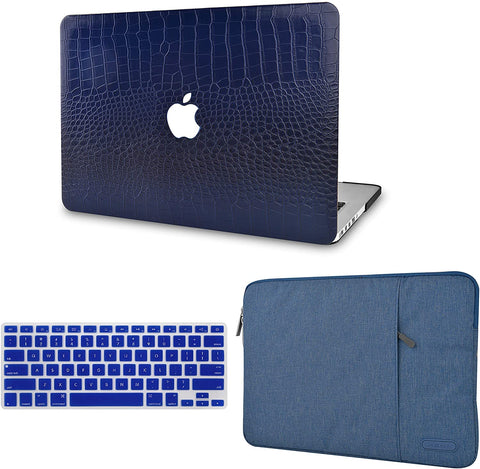 Macbook Case with Keyboard Cover and Sleeve Package | Matte Navy Crocodile Leather